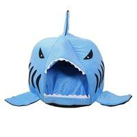 冬暖かい柔らかいペットハウス寝袋漫画サメパターン犬小屋猫ベッド子犬小型犬クッション取り外し可能なペット製