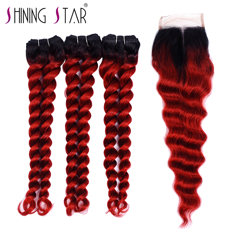 Red Ombre Loose Deep Wave Bundles With Closure 3 Malaysian Hair 1B Burgundy Bundle With Closure Human Hair Colored Nonremy Weave