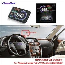 Liandlee For Nissan Armada Patrol Y62 Infiniti QX56 QX80 Safe Driving Screen OBD Car HUD Head Up Display Projector