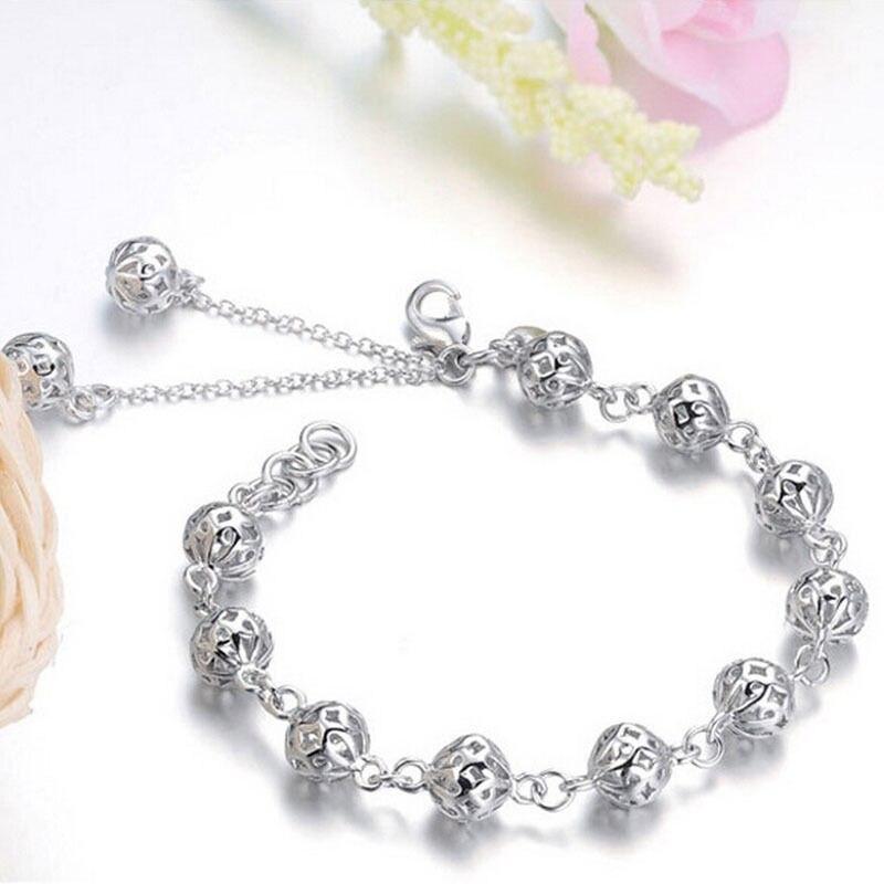 2016 Newest Silver Plated Woman Jewelry Bangles Hollow Ball Design Bracelet Women Link Chain Charm Strand Bracelet 19CM