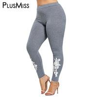 PlusMiss Plus Size 5XL Appliqued Skinny Jersey Leggings Women Big Size Printed Fitness Leggins Pants Capri