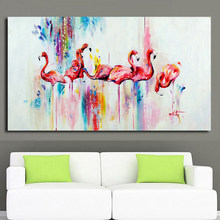 2017 handpainted Oil Painting on Canvas watercolor red Flamingo Painting Modern Home Decoration Art Wall Pictures no Framed(China)