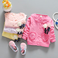 (LL76)Girls Clothing 2016 New 100% Cotton Kids Lovely Fashion Baby Flowers Long Sleeve Cardign Infant Tops 4Pcs/Lot