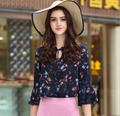 2017 New spring Women Flower Printed Lacing up Chiffon Shirts Blouses Tops with Flare Sleeve Fashion Elegant OL Shirts
