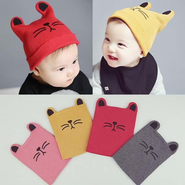 DreamShining Cartoon Baby Hats Cat Knitted Cap Beard With Ears Winter Warm Newborn  Caps Beanies Wool 97f55dfe794