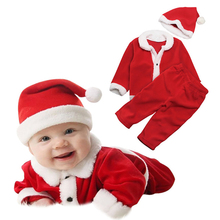 Newborn Infant First Christmas Baby Boys Romper Casual Girls Clothes Long Sleeve Coat+Lovely Hat Clothing Sets