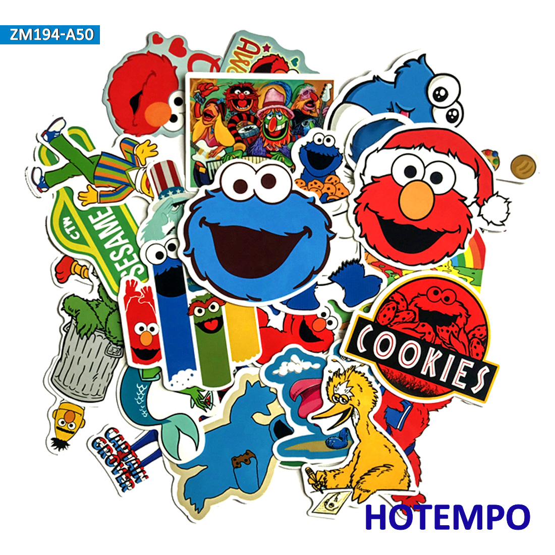 50pcs Cute Sesame Street Cartoon Stickers for DIY Mobile Phone Laptop Luggage Suitcase Skateboard Bike Waterproof Decal