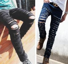 Fashion ripped skinny black jeans men's personality rock style jean pants homme slim fit pants for men distressed  calca jeans