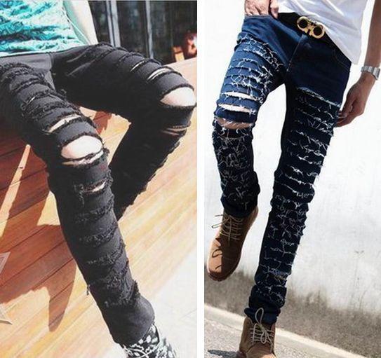 002eba9dca Moda ripped skinny jeans negro personalidad Rock estilo Jean Pantalones  Hombre Pantalones slim fit para los hombres apenados Calca vaqueros en  Pantalones ...