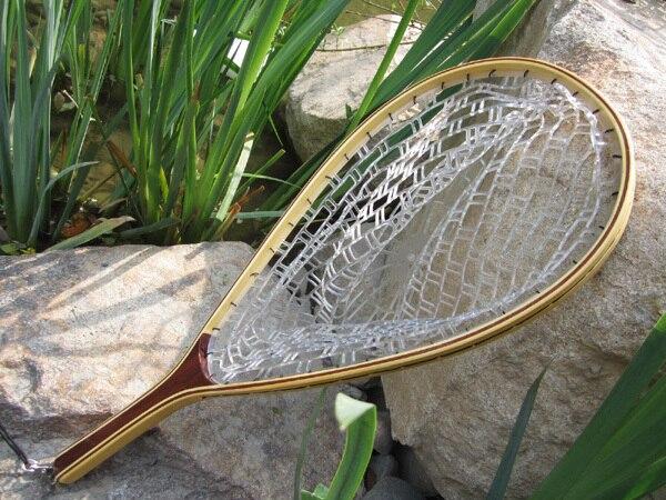 punho de madeira pesca com mosca desembarque truta rede de borracha captura liberacao 60x38 5x23 cm