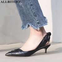 ALLBITEFO fashion retro genuine leather high heels women sandals sweet bowtie wdding women shoes summer women heels girls shoes