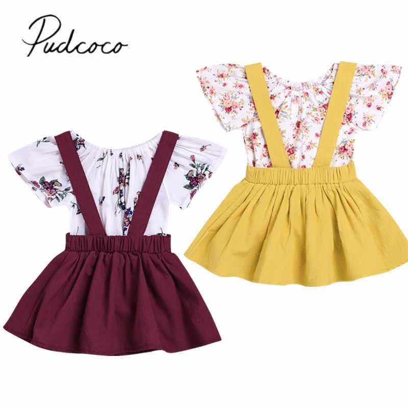 Toddler Kids Girls Clothes Baby Girl T-Shirt Tops Tutu Skirt Overalls 2pcs Outifts Set
