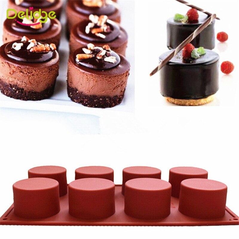 Delidge 8 Löcher Runde Silikon Kuchen Form 3D Handgemachte Cupcake Gelee Cookie Mini Muffin Seife Maker DIY Backen Werkzeuge Dropshipping