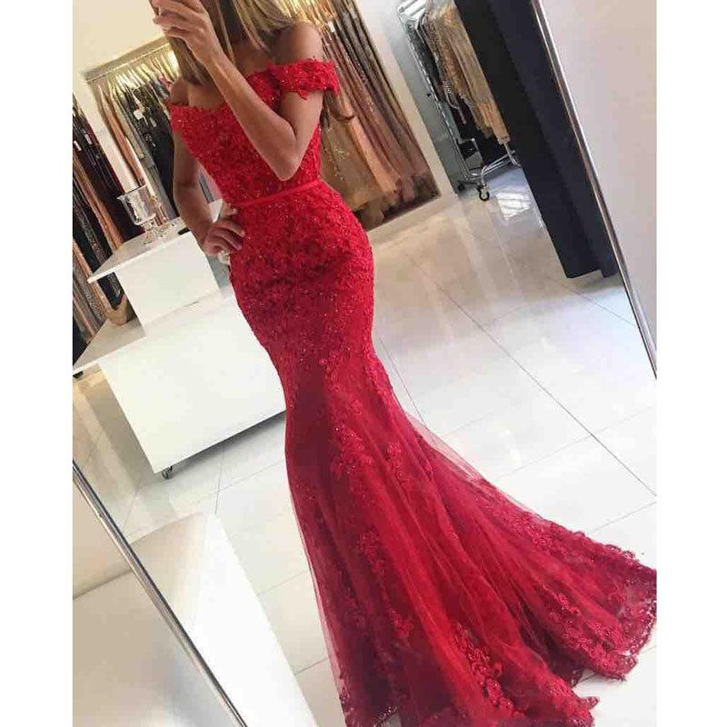 2019 New Red Lace Mermaid   Prom     Dresses   Veatidos Off Shoulder Beaded Appliques Tulle Floor Length Long Evening Gowns Custom Made