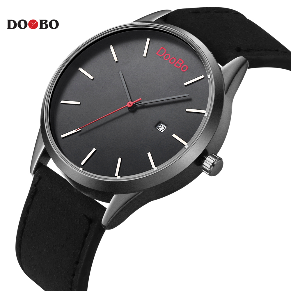 Fashion Casual Mens Watches Top Brand Luxury Leather Business Quartz-Watch Men Wristwatch Relogio Masculino Montre Homme DOOBO 2017 mens watches top brand luxury julius boy male business waterproof wristwatch date quartz watch men relogio montre homme