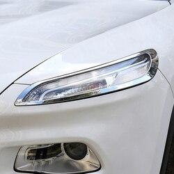Srebrny chrom reflektor przykrycia  akcesoria do Jeep Cherokee (KL) 2014 2018 2 ramki/zestaw lampy przednie światła promocja wykończenia|Chromowane wykończenia|Samochody i motocykle -