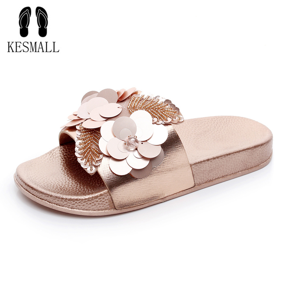 KESMALL Summer Women Beach Slippers Flowers Bling Pearl Sandals Flat Non Slip Ladies Sequins Slides Home Flip flops Casual Shoes at ur hand eva women casual beach flip flops leopard printed sandals non slip women shoes