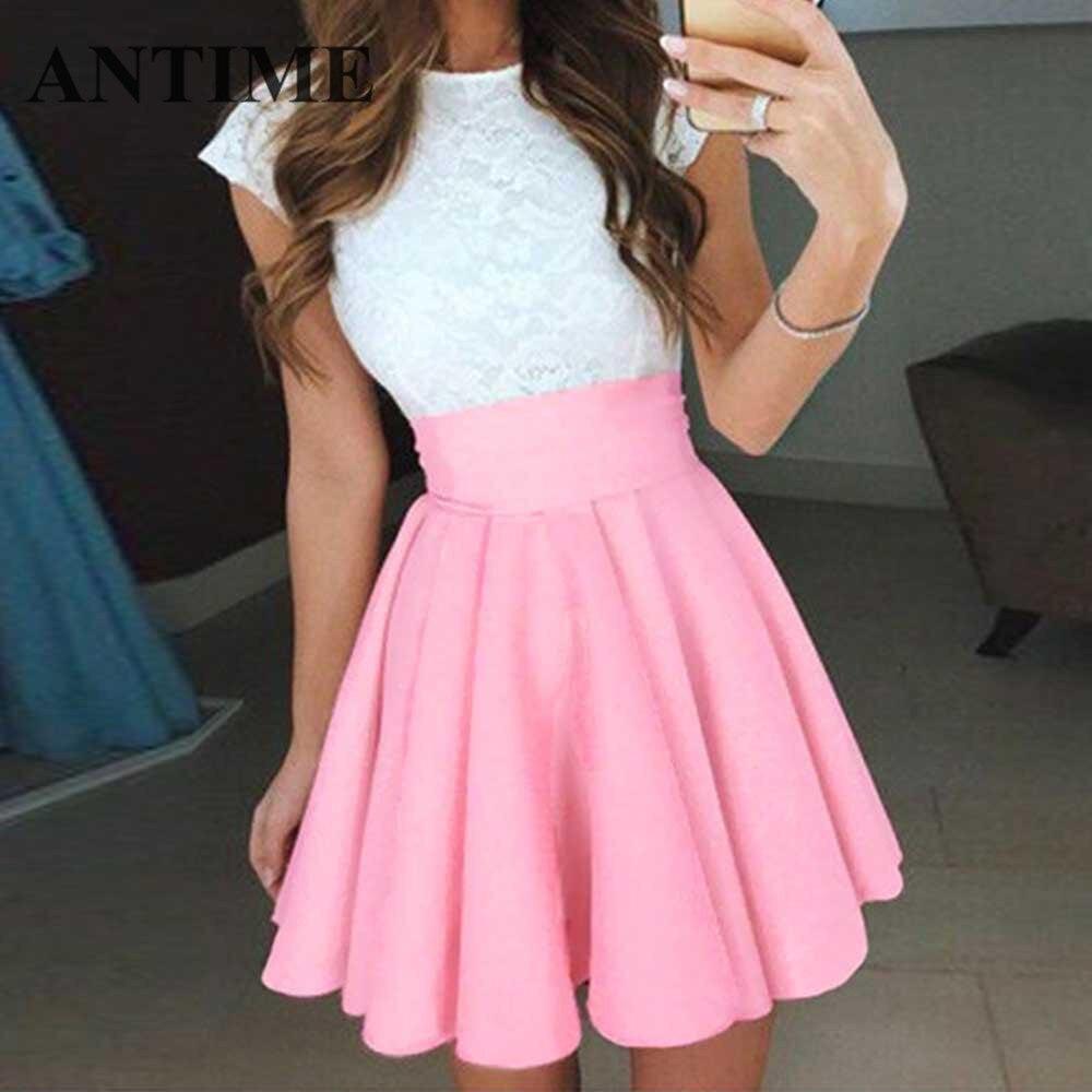 7a5fc513c ANTIME Mini plisado mujeres lindo vestido una línea sin mangas de encaje  Casual primavera verano corto elegante corto nuevos vestidos de fiesta con  ...