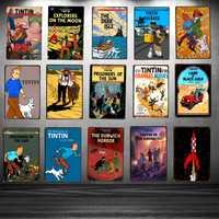 Tintin Cartoon Movie Tin Sign Metal Plate Iron Painting Kids Room Wall Bar Coffee Home Art Craft Decor 30X20CM DU-1018