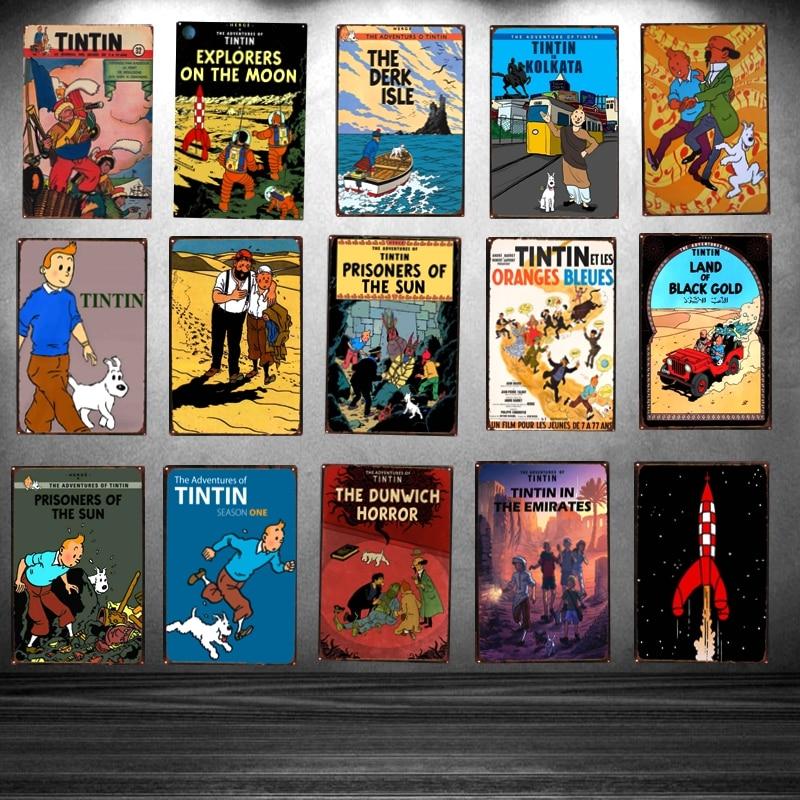 NEUVE Plaques Enseignes étain Rétro TINTIN Vintage 30X20 CM