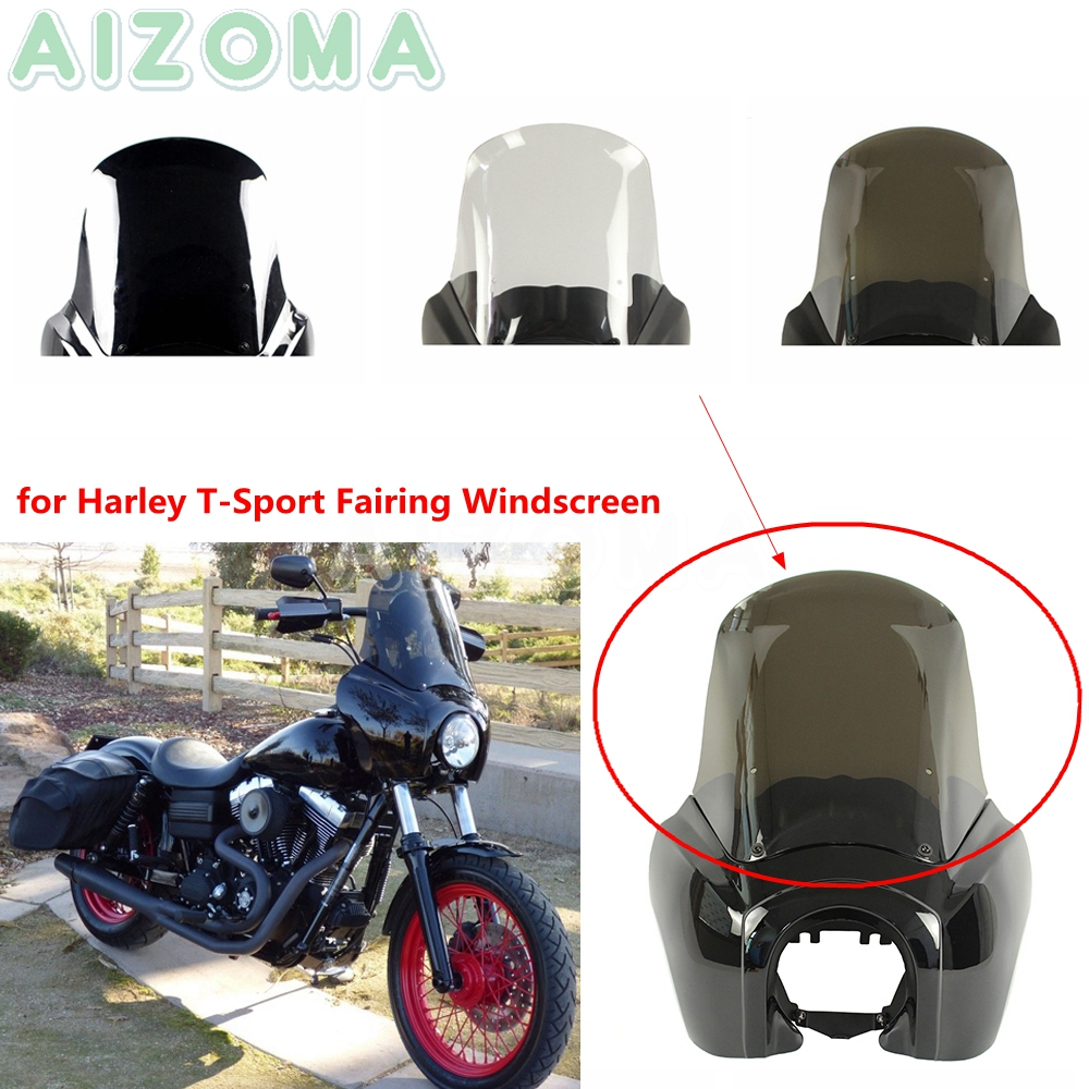 Motorcycle Headlight Fairing Replacement Windshield Wind Screen For Harley Dyna Low Rider Street Fat Bob FXR FXD 1987-17