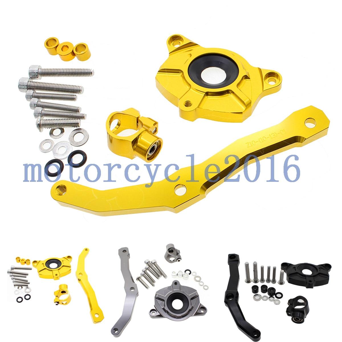 ФОТО Adjustable Steering Stabilize Damper bracket Mount kit For Kawasaki Z1000 2010 2011 2012 2013 T6061-T6 Aluminum A set CNC FXCNC