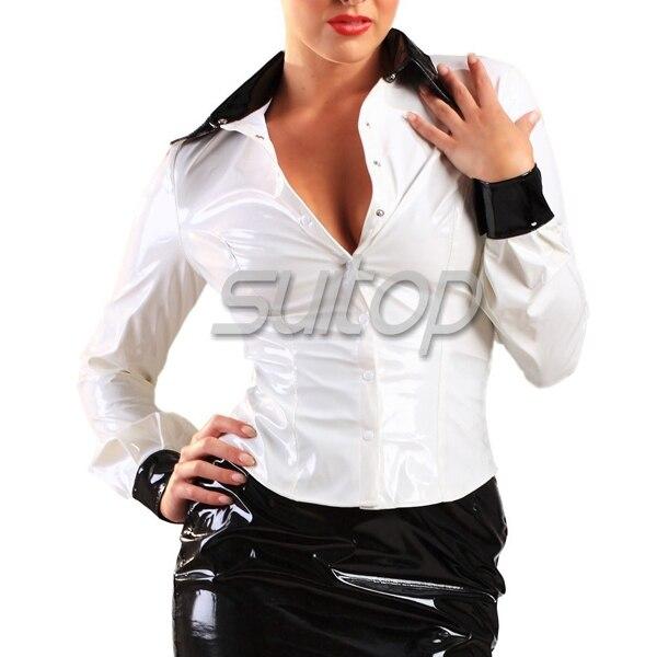 Adulte Chemises Pour De Femmes Latex Suitop Caoutchouc Top En Bureau Dame Chemise wnxZ6ndq