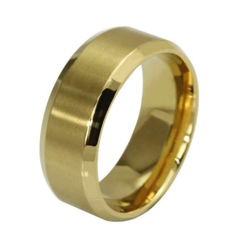 Stylish Jewelry Plain Men's Titanium Steel Ring New fashion Ring for Men Stainless Steel Ring Titanium Silver Black Gold drship