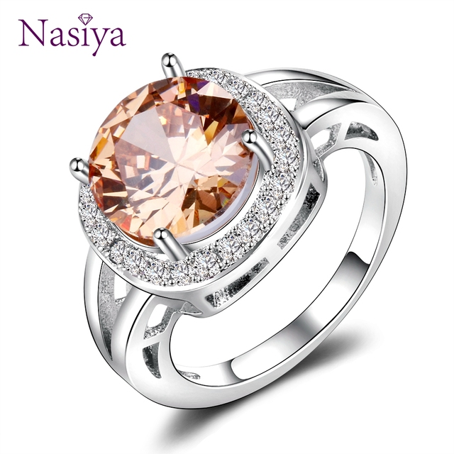 925 Jewelry Round Natural Gemstone Ring