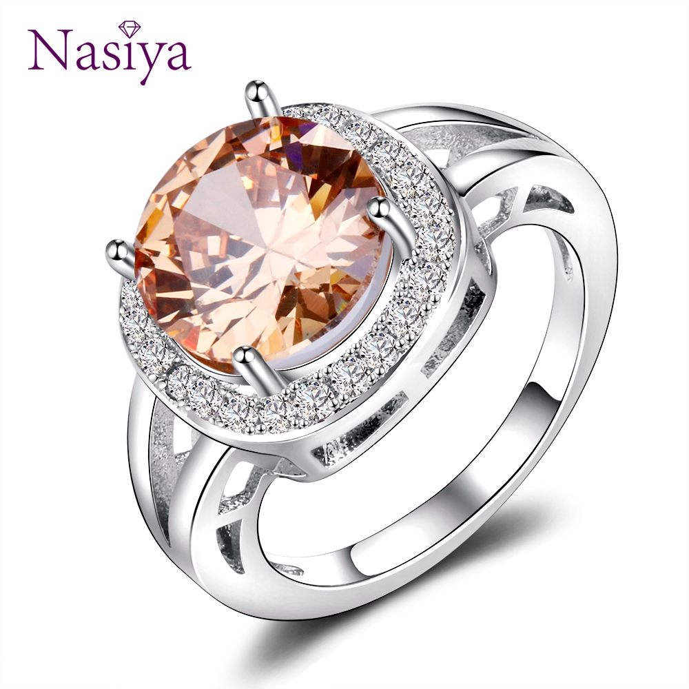 Nasiya Luxury Smoky Quartz Rings For Women Silver 925 Jewelry Round Created Gemstone Ring Fashion Wedding Party Gift Champagne