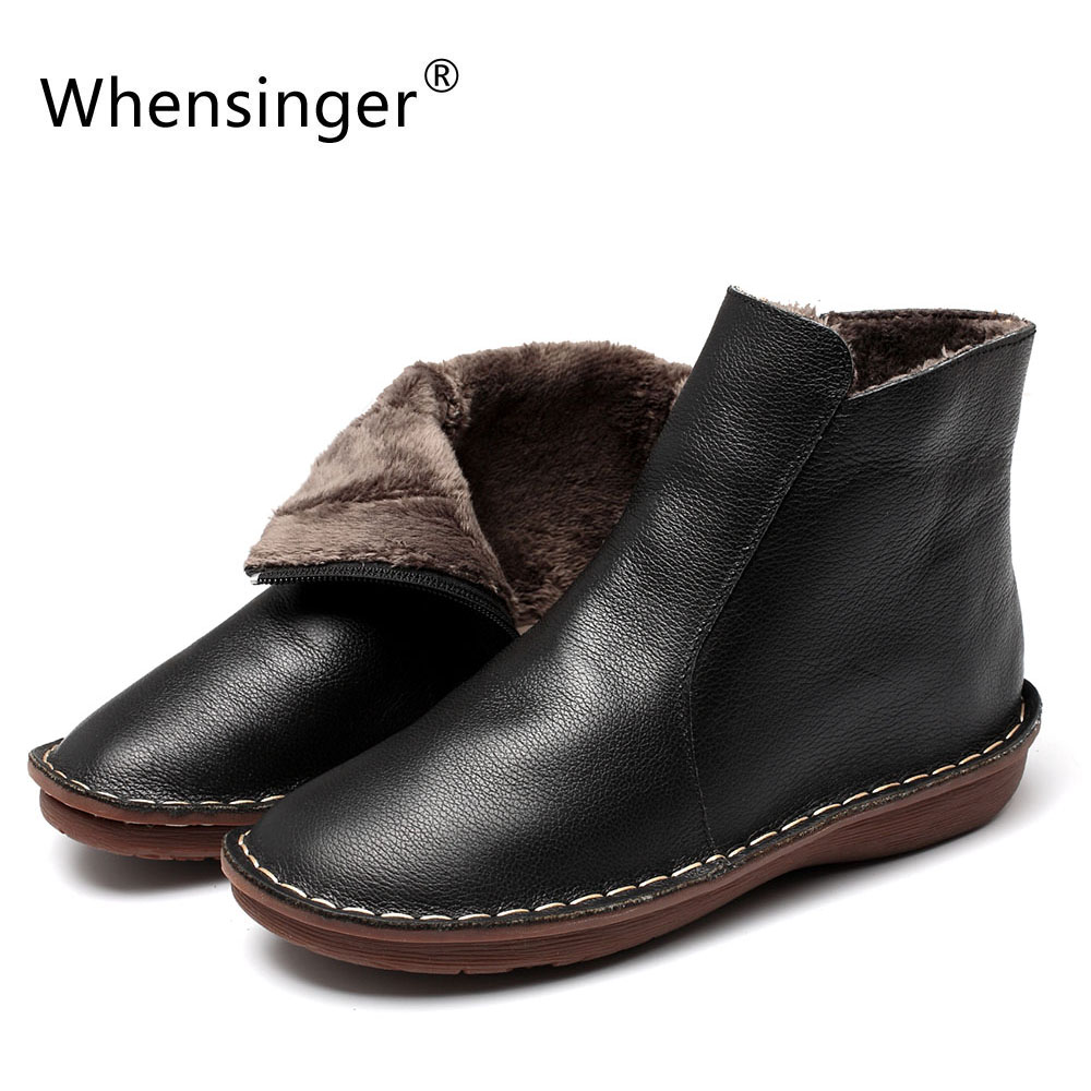 Whensinger - 2018 Winter Genuine Leather Shoes Warm Plush Inside Zipper Design 0501A ...