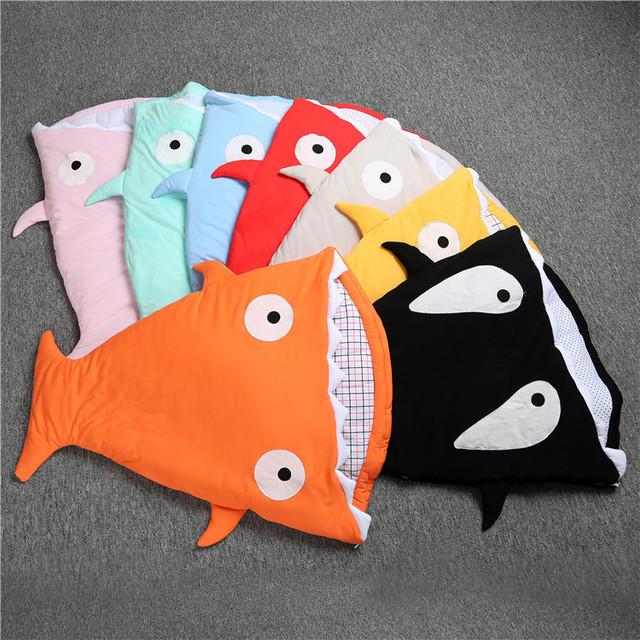 Calidad Bebé Saco de dormir de Algodón de Dibujos Animados Shark Controlador Bolsa Bebés Recién Nacidos Abrigo Bebé Sleepsacks Swaddle Bebé Manta de Cama