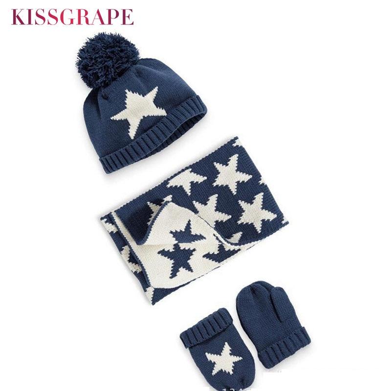 Winter Warm Kids Scarf Hat Gloves Sets Baby Boys Knitted Caps Pom Poms Ball Star Children's Thicken Caps Beanies Mittens Set