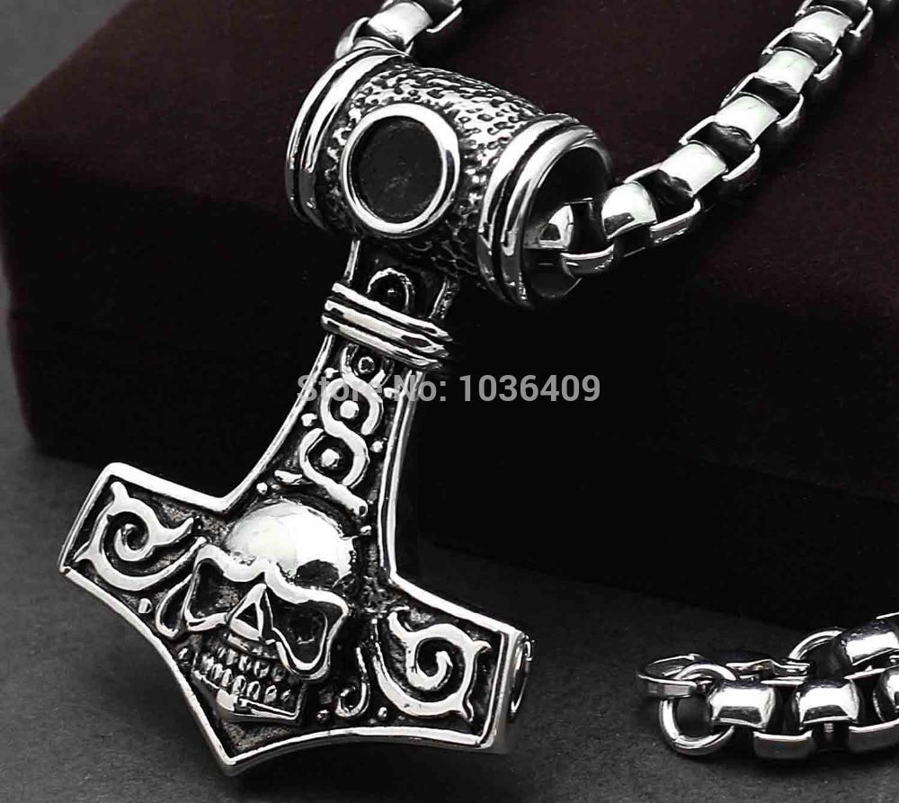 Men/'s Huge Norse Mjolnir Viking Thor/'s Hammer Stainless Steel Necklace Pendant