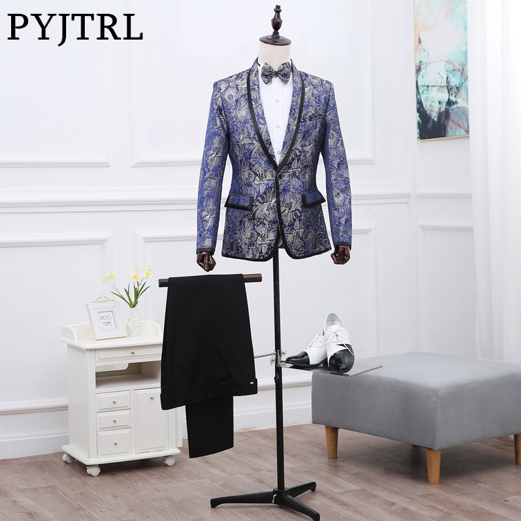 PYJTRL Men Shawl Lapel Royal Blue Floral Pattern Studio Presided Ceremonies Costume Wedding Dress Suits Mens Blazers With Pants