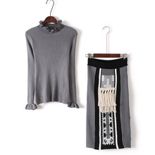 Crop Top And Skirt Set Time-limited Hot Sale Polyester Full Tassel Turtleneck 2017 Hitz Agaric Knit Jacquard Tassels Skirt Suit