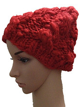 Осень зима толщиной шляпа 100% ручной работы вязаная шапка зимы женщин теплые шерстяные шапочки