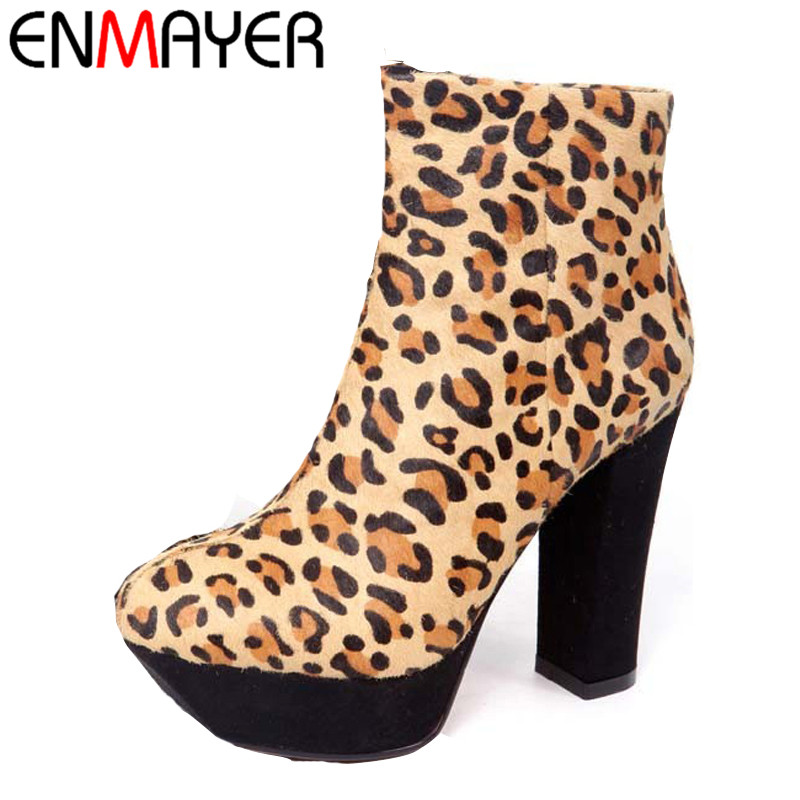 ENMAYER Zippers Round Toe Square High Heels Flock Leopard Shoes for Girls New Fashion Style Winter Women Ankle Boots enmayer bling gladiator zippers round