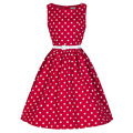 2016 Womens Sleeveless Polka Dot 50s 60s Vintage Retro Style Robe Rockabilly Pinup Swing Blue Red Black Summer Casual Dress