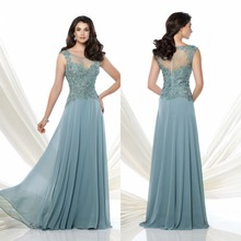 2015 Fashionable Cap Sleeve Long Chiffon Mother Of The Bride Dresses Floor Length Scoop Neck Guest Dresses For Weddings F1934 fashionable scoop neck grey backless long sleeve dress for women