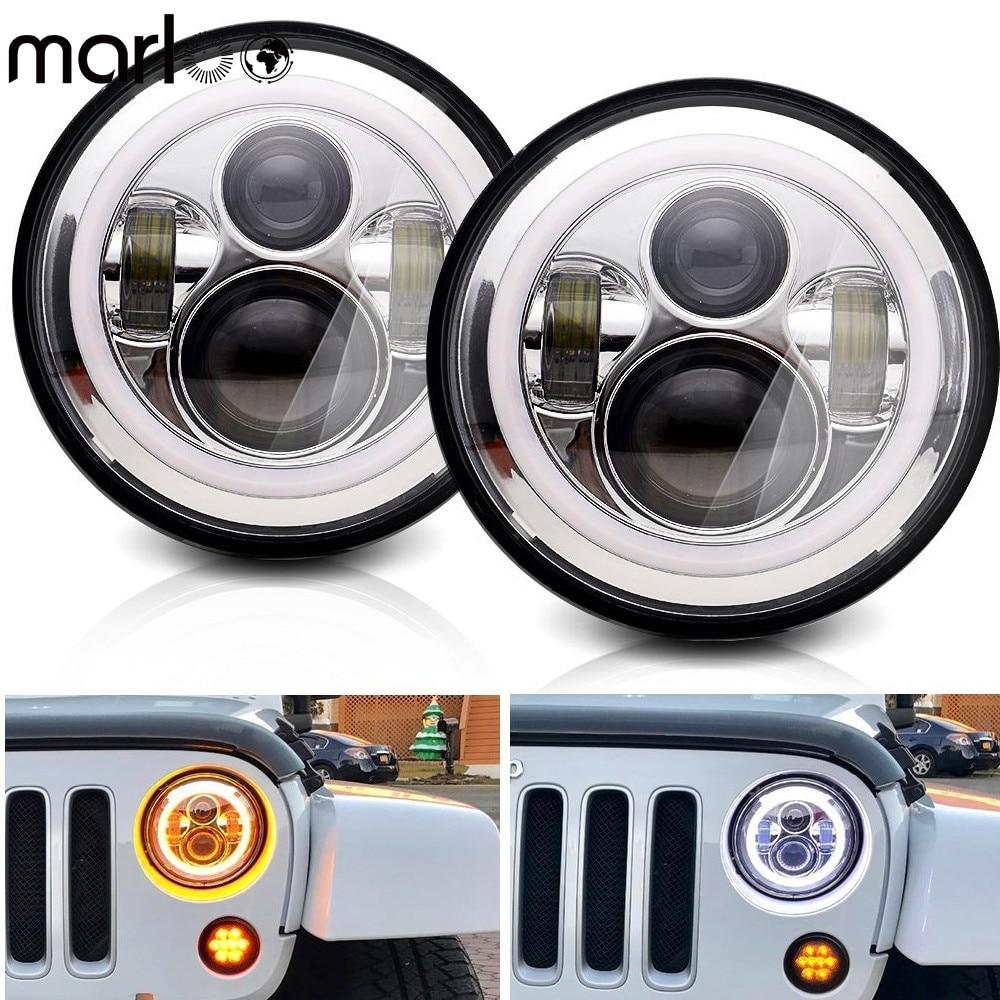 Marloo 7 Inch Round LED Headlight Daymaker Projector Headlamp Halo DRL Signal Light For Jeep Wrangler JK Hummer Lada Niva 4x4 marloo pair 7 led headlight for jeep wrangler jk headlamp with halo angel eye