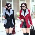 Moda Empalme Cazadora mujeres otoño invierno Elegante chaqueta delgada femenina harajuku Solo Botón abrigos de Lana para mujer escudo LX6002