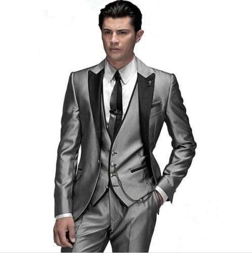 Hot Custom peak Lapel groom suit grey Groomsmen Tuxedos Best Men Wedding suits C373
