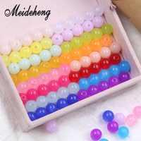 160 Uds. 10mm acrílico traslúcido gelatina colorido agujero recto redondo perlas hallazgos joyería DIY pulsera niños regalo artesanal