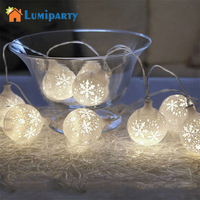 LumiParty 20LED Fairy White Snow Ball LED String Lights Decoration For Christmas Garland New Year Battery Operated