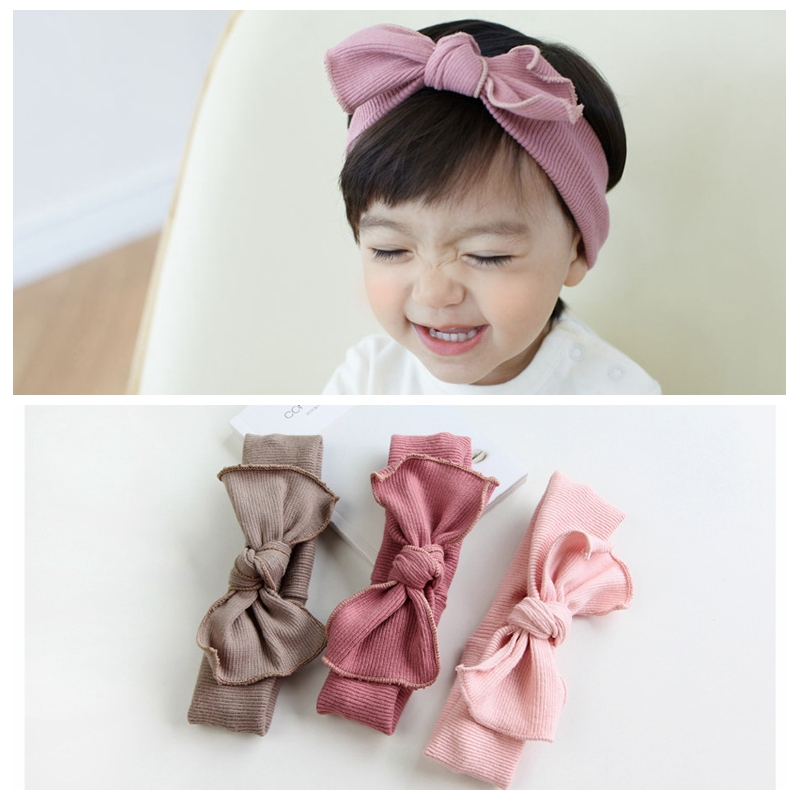 1pc Top Knot Bow Headband Cotton Fabric Hairbow Headbands Turban Kids  Stretch Hairband Girls Korean Hair Accessories A116 bf788fb2b5d