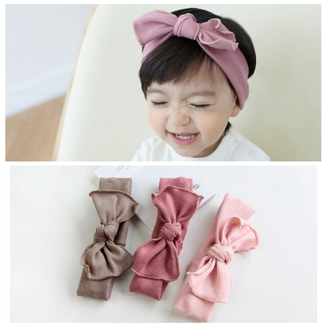 1pc Top Knot Bow Headband Cotton Fabric Hairbow Headbands Turban Kids  Stretch Hairband Girls Korean Hair Accessories A116 09218ff376d