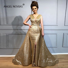 Angel Novias Gold V Neck Arabic Moroccan Evening Dresses