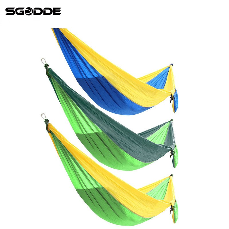 SGODDE Double Person Hammock Swing Bed Portable Parachute Travel Camping 270cmX140cm Item Condition New With Tags 270x140cm portable parachute hammock nylon double swing bed for camping hiking travel