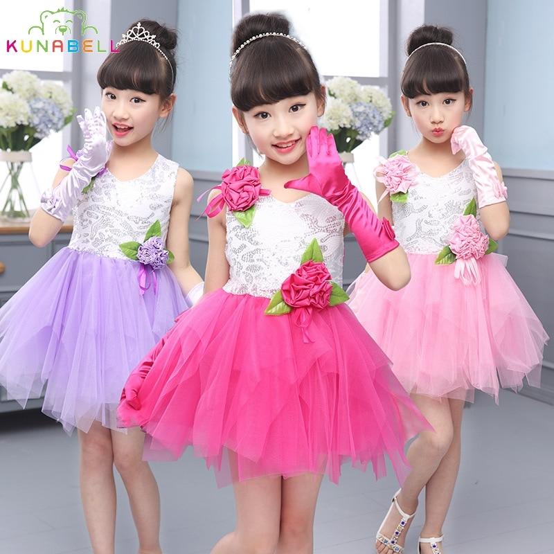 Kids Tutu Dress Girl Flower Dress Summer Girls Party Dresses with Gloves Fashion Dance Dress Kids Girls Clothes Ball Gown L198